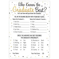 Amazon.com: Who Knows Grad Best - Graduation Party Game Cards (25 Count): Kitchen & Dining