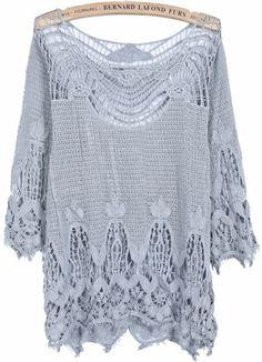 Grey Long Sleeve Hollow Lace Blouse - Sheinside.com