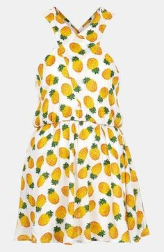 Pineapple printed cross - neck dress