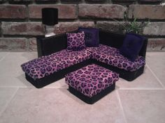 Furniture for Barbie or Monste High Dolls- Purple Leopard Sectional couch