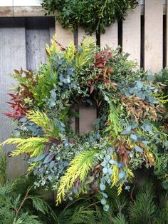 Cypress wreath on fence