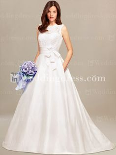 Sleeveless informal wedding gown highlights with an illusion bateau neckline in front and an open V-neckline in back.