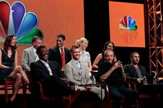 "NBCUniversal Press Tour July 2012 -- ""Chicago Fire Session"" -- Pictured: (l-r) Teri Reeves, David Eigenberg, Eamonn Walker, Charlie Barnett, Jesse Spencer, Lauren German, Dick Wolf, Monica Raymund, Taylor Kinney -- (Photo by: Chris Haston/NBC) #ChicagoFire"