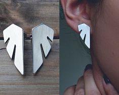 Surgical Steel Earrings / Stainless Steel Jewelry by AshkalJewelry Surgical Steel Earrings, Stainless Steel Earrings, Wing Earrings, Leather Earrings, Statement Earrings, Modern Jewelry, Metal Jewelry, Polymer Clay Earrings, Designer Earrings