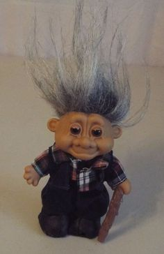 Russ Vintage Troll Doll Old Man Gray Hair Cane #Russ #TrollDoll