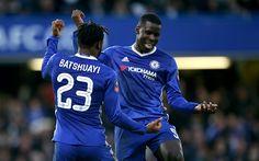 Lataa kuva Kurt Zouma, Michy Batshuayi, 4k, jalkapalloilijat, jalkapallo, Chelsea FC, Premier League, Chelsea