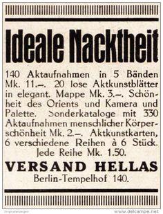 Original-Werbung/ Anzeige 1925 - IDEALE NACKTHEIT / HELLAS - VERLAG / BERLIN - TEMPELHOF - ca. 40 x 45 mm