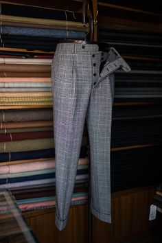 Plaid two pleats trousers
