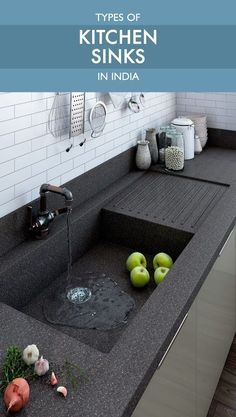 Kitchen Sinks Ideas Read all about types of kitchen sinks available in India before making this crucial purchase - Make an informed decision before you purchase a kitchen sink. This is as important as picking the right chimney or hob. Best Kitchen Sinks, Kitchen Sink Design, Modern Kitchen Design, Kitchen Layout, Interior Design Kitchen, Small Kitchen Sink, Modern Kitchen Interiors, Kitchen Corner, Kitchen Tile
