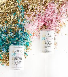 Dazzle the world in confetti and announce the gender of a new arrival with this gender reveal push-pop confetti™! Pink or blue confetti is housed in the middle  $12.00