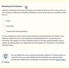 Collect Consent with GDPR Forms | MailChimp