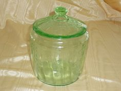 Green depression glass Ballerina pattern cookie jar