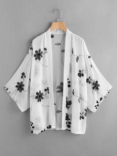 To find out about the Mono Floral Embroidered Kimono at SHEIN, part of our latest Kimonos ready to shop online today! Kimono Blouse, Kimono Outfit, Kimono Fashion, Hijab Fashion, Fashion Outfits, Fashion Styles, Floral Kimono, Girls Fashion Clothes, Modest Fashion
