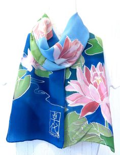 Hand Painted Silk Scarf Handmade Silk Scarf by SilkCouturebyTakuyo