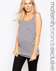 Image 1 of New Look Maternity Striped Tank With Neon Trim
