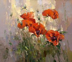 Imágenes Arte Pinturas: Cuadros Sencillos de Flores Rojas, Pintura con Espátula de Alexi Zaitsev