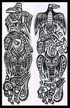 Totem pole Raven Killer wale Owl and Wolf Totem Pole Drawing, Totem Pole Tattoo, Raven Totem, Raven Art, Native American Totem Poles, Native American Art, Haida Tattoo, Tropical Tattoo, American Indian Tattoos