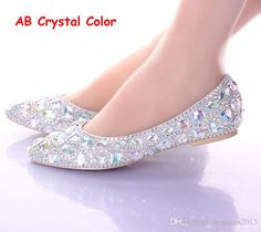 Wedding Shoes Malaysia Flat Heels Pointed Toe Ab Crystal Wedding Shoes Silver Dancing Flats Performance Show Women Dress Shoes Bridal Bridesmaid Shoes Wedding Shoes Lace From Hotsales2013, $70.51| Dhgate.Com