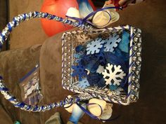 Flower girl basket, for winter wedding. Added snowflakes with blue flower petals.
