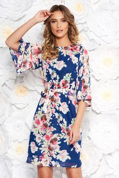 StarShinerS blue elegant daily voile fabric dress with floral prints, accessorized with tied waistband, inside lining, floral prints, long sleeves, voile fabric