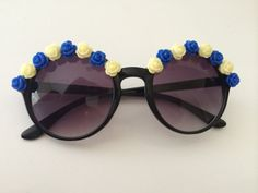 Floral Sunglasses Black Round Sunglasses with by FestivalOutfitter