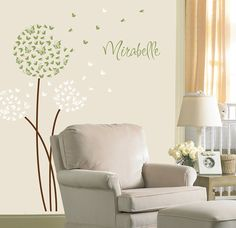 Dandelion Wall Decal in Butterflies with Custom Name for a Butterfly Nursery Kids or Childrens Room
