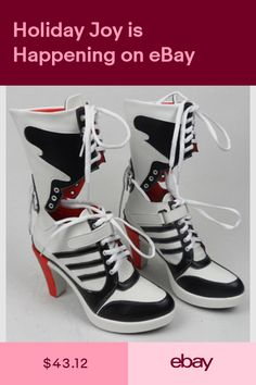 cb65ac1503db Suicide Squad Harley Quinn Shoes Red Stripes High Heels Clown Cosplay Boots  For Halloween Party Women Shoes Prop Accessories