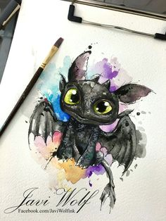 Watercolor stars tattoo Tattooed by Javi Wolf Cute Disney Drawings, Cute Animal Drawings, Cute Drawings, Disney Kunst, Disney Art, Disney Tattoos, Toothless Tattoo, Javi Wolf, Arte Sketchbook