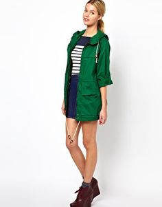 Green French Connection Boyfriend Cotton Jacket