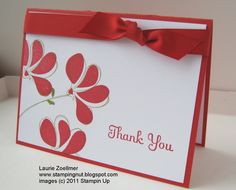 Awash with Flowers stamp set looks great on this crisp red and white thank you card. The red bow ties everything up nicely.  DIY