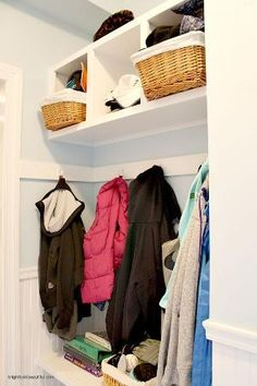 Mudroom Ideas: hooks, baskets and cubbies, and a bench by valerie