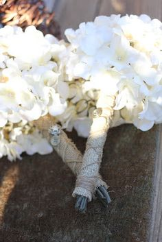 www.donnavenmoserphotography.com DIY Nosegay Bouquet, Burlap, Twine, Wedding, Buttons, Hydrangeas, Rustic, Vintage, Bridesmaid, Bridal Photography  www.donnavenmoserphotography.com