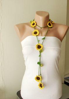 Crochet flower lariat - inspiration only