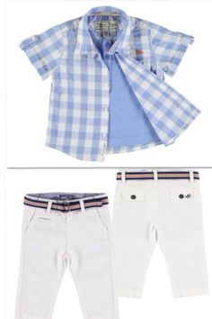 Your little guy would be so cute in this little outfit. This Mayoral set includes a Blue Gingham shirt with faux shirt underneath that can be worn both buttoned or unbuttoned with white pique trousers with belt. This outfit is just perfect for a day at the beach, park, riding around town.