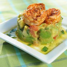 Grilled Shrimp Avocado Square