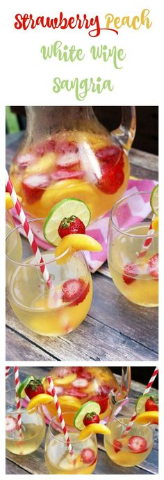 strawberry-peach-white-wine-sangria 1 Large Bottle ml) Pinot Cup Limes, Cup White Grape/Peach Juice Can Lemon-Lime Cup Whole Cup Sliced Peaches White Peach Sangria, White Wine Sangria, Peach Juice, Red Wine, Strawberry Peach Sangria Recipe, Sangria Recipes, Cocktail Recipes, Cocktails, Drink Recipes