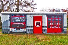 Art-EFX-Substation as Mini Fire Truck Station  in Fehrbellin,  #artefx, #murals, #muralpainting, #streetart, #graffitiauftrag, #substation, #illusionsmalerei, #firetruck, #firefighter, #fehrbellin, #feuerwehr,