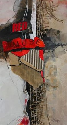"""""""Red Muse mixed media abstract ..."""" by Carol Nelson"""