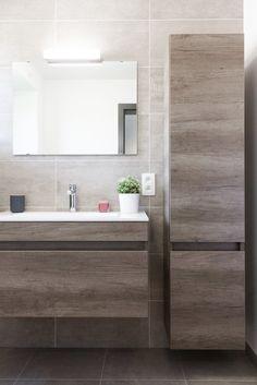 floating cabs/vanity / tall slim linen next to vanity Bathroom Sink Decor, White Bathroom Cabinets, Modern Bathroom Decor, Laundry Room Bathroom, Bathroom Styling, Bathroom Furniture, Bathroom Organization, Industrial Bathroom, Bathroom Shelves