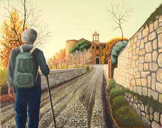 Il viandante, acrilico su tela, 40x50 cm Railroad Tracks, Tela, Atelier, Train Tracks