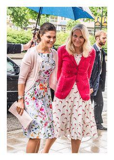 Princess Mette-Marit of Norway wearing Isolda Santo Domingo dress with Princess Victoria of Sweden - shop the dress on Moda Operandi now!