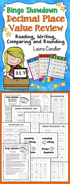 Bingo Showdown: Decimal Place Value Review by Laura Candler (CCSS Aligned 5.NBT.3 & 5.NBT.4) Can be played with the whole class, in teams, or in centers. Includes reading, writing, rounding, and comparing decimals. $ #LauraCandler