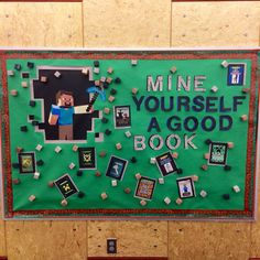 We put this Minecraft bulletin board up in the Young Teen section of my library. Was immediately a hit, met with positive remarks from both colleagues and patrons.
