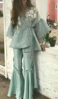 Security Check Required - Bespoke custom made Sharara suits For any inquiries Please email : nivetasfashion . We Ship Worldwide Pakistani Wedding Outfits, Pakistani Dresses Casual, Indian Fashion Dresses, Dress Indian Style, Pakistani Dress Design, Indian Designer Outfits, Indian Outfits, Indian Wear, Pakistani Sharara