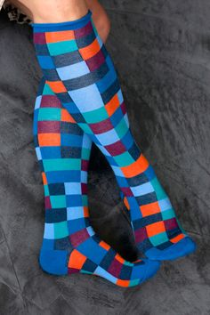 Checkerboard Knee High Socks Funky Colorful Cool Y