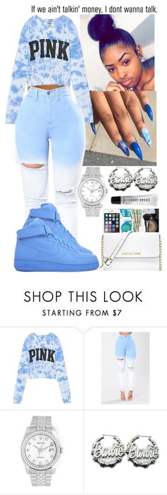 """"""""""" by flawlessgirlty ❤ liked on Polyvore featuring Victoria's Secret, NIKE, Rolex, Nicki Minaj, AG Adriano Goldschmied and Bobbi Brown Cosmetics"""