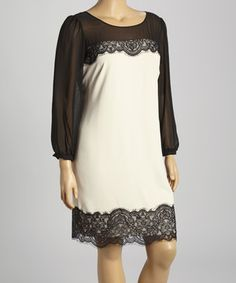 Look what I found on #zulily! SL Fashions Black & White Lace Scoop Neck Dress - Plus by SL Fashions #zulilyfinds