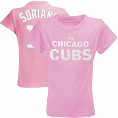 Majestic Alfonso Soriano Chicago Cubs Youth Girls Name & Number T-Shirt - Pink