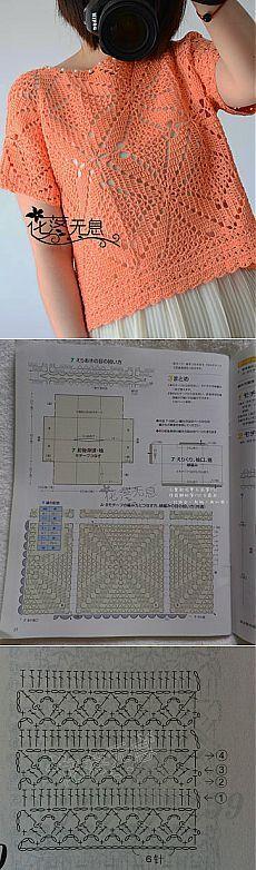 Knitted jacket of the scheme Crochet Bolero, Pull Crochet, Gilet Crochet, Crochet Diy, Crochet Diagram, Crochet Woman, Crochet Cardigan, Crochet Tops, Crochet Squares