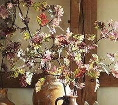 Perfect for fall- a hint of purple! Faux Fading Purple Oak Branch #potterybarn